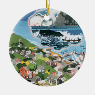 Vintage Travel Poster, Map of Nantucket Island, MA Ceramic Ornament