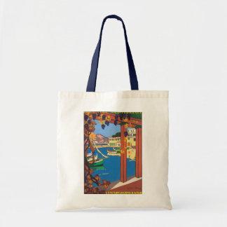 Vintage Travel Poster Mediterranean French Riviera Budget Tote Bag