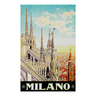Vintage Travel Poster Milano, Italy