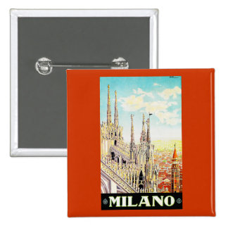 Vintage Travel Poster Milano, Italy Pins