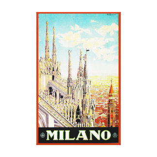 Vintage Travel Poster Milano, Italy Canvas Prints