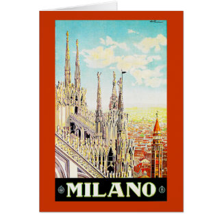 Vintage Travel Poster Milano, Italy Greeting Card