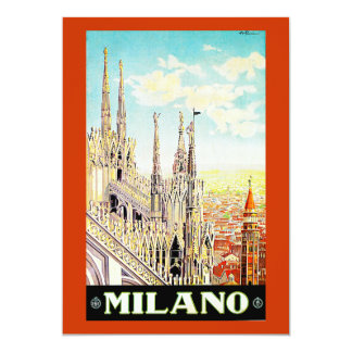 Vintage Travel Poster Milano, Italy Personalized Invitations