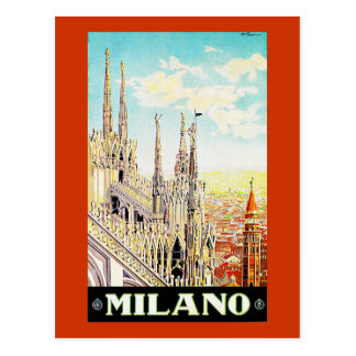 Vintage Travel Poster Milano, Italy Postcard