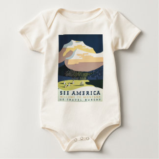 Vintage Travel Poster Montana America USA Baby Bodysuit