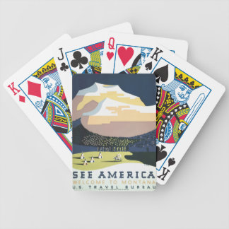 Vintage Travel Poster Montana America USA Bicycle Playing Cards