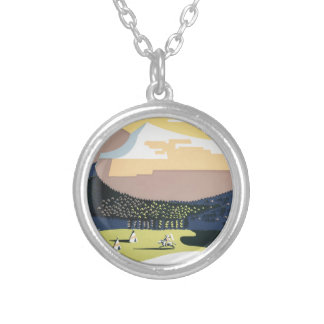 Vintage Travel Poster Montana America USA Silver Plated Necklace