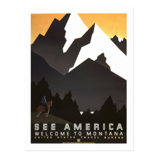Vintage Travel Poster,Montana Postcard