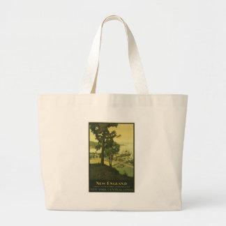 Vintage-Travel-Poster-New-England-USA-2 Large Tote Bag