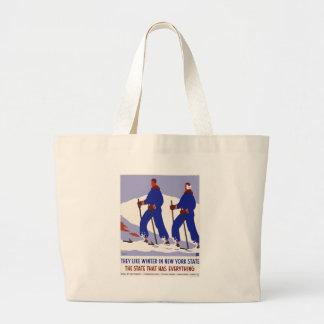 Vintage-Travel-Poster-New-York-America-USA Large Tote Bag