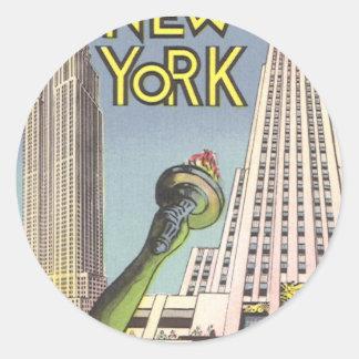 Vintage Travel Poster, New York City Landmarks Round Sticker