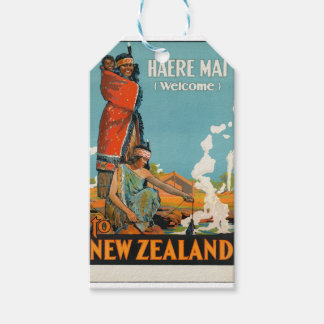 Vintage Travel Poster New Zealand Gift Tags