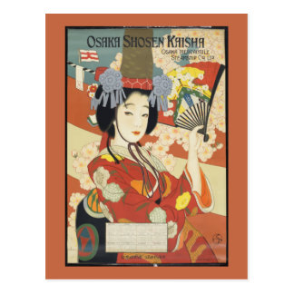 Vintage Travel Poster Osaka Japan Postcard