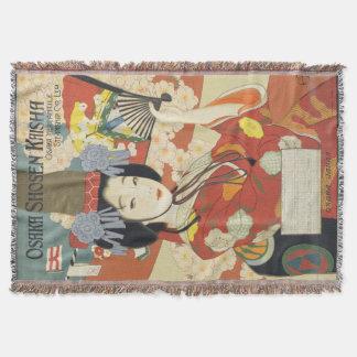 Vintage Travel Poster Osaka Japan Throw Blanket