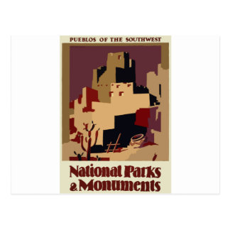 Vintage-Travel-Poster-Pueblos-Of-The-Southwest Postcard