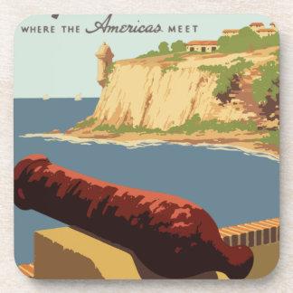 Vintage Travel Poster Puerto Rico Coaster