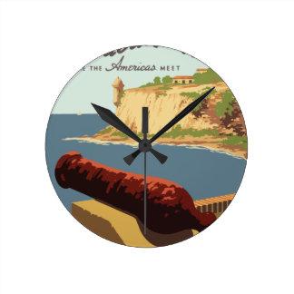 Vintage Travel Poster Puerto Rico Round Clock