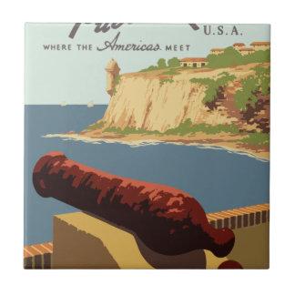 Vintage Travel Poster Puerto Rico Tile