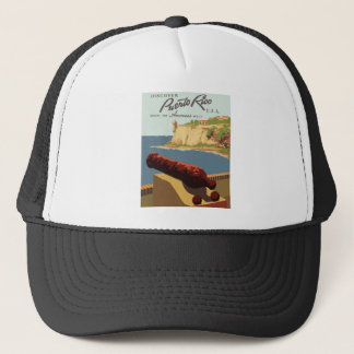 Vintage Travel Poster Puerto Rico Trucker Hat