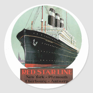 Vintage Travel Poster - Red Star Line Round Sticker