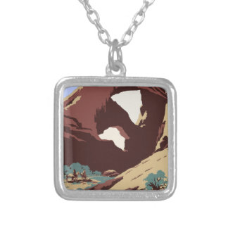 Vintage Travel Poster Southwest America USA Silver Plated Necklace