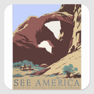 Vintage Travel Poster Southwest America USA Square Sticker