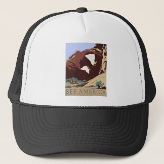Vintage Travel Poster Southwest America USA Trucker Hat