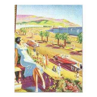 Vintage Travel Poster, the Coast of Nice France 11 Cm X 14 Cm Invitation Card