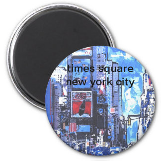 Vintage travel poster Times Square N Y City 6 Cm Round Magnet