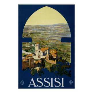 Vintage travel poster to Assisi Italy