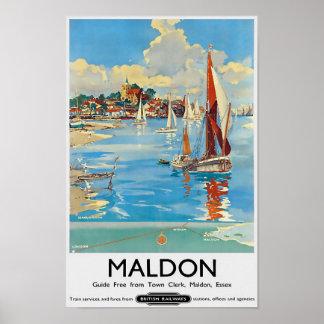 Vintage Travel Poster Town Clerk, Maldon, Essex