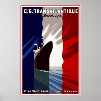 Vintage Travel Poster Travel French Liner