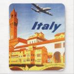 Vintage Travel Poster, Volterra Italy Bridge River Mousemat