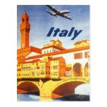 Vintage Travel Poster, Volterra Italy Bridge River Postcard