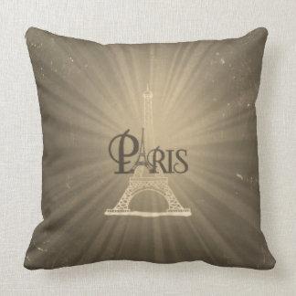 Vintage Travel Retro Style Eiffel Tower Paris Grey Cushion