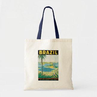 Vintage Travel Rio de Janeiro Brazil Coastal Beach Budget Tote Bag