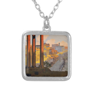 Vintage Travel Rome Italy 1920 Silver Plated Necklace