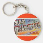 Vintage Travel San Francisco Basic Round Button Key Ring