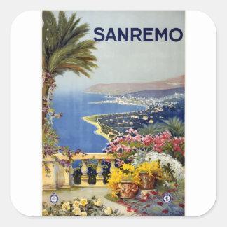 Vintage Travel Sanremo Italy Square Sticker