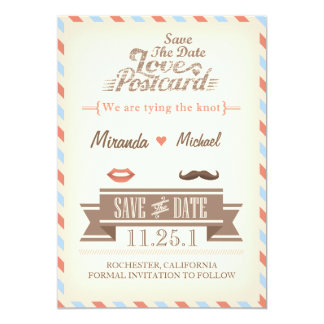 Vintage Travel Save The Date Postcard