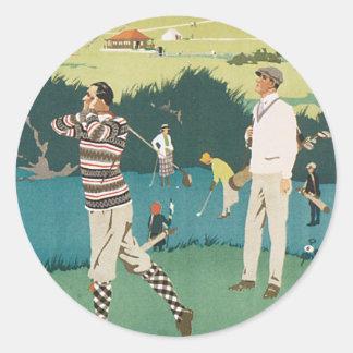 Vintage Travel Scotland Golf Golfing Golfers Sport Round Sticker