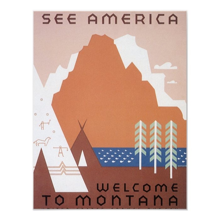 Vintage Travel, See America Welcome to Montana 11 Cm X 14 Cm Invitation Card