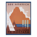 Vintage Travel, See America Welcome to Montana Post Card