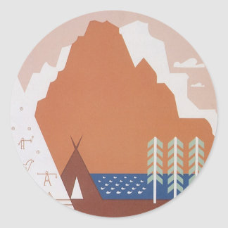 Vintage Travel, See America Welcome to Montana Round Stickers