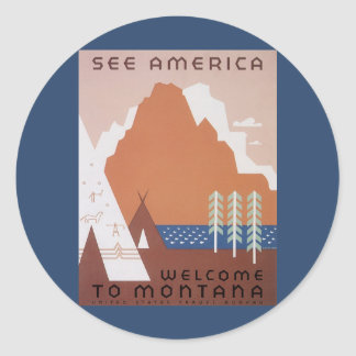 Vintage Travel, See America Welcome to Montana Round Sticker