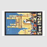 Vintage Travel See India Aisa Rectangular Sticker
