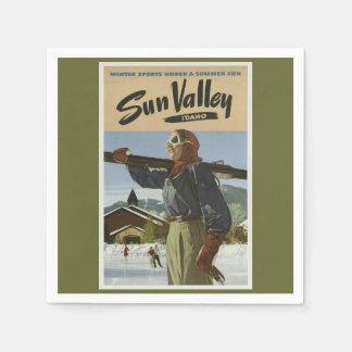 Vintage Travel Ski Disposable Napkin
