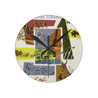 Vintage Travel South Dakota USA Round Clock
