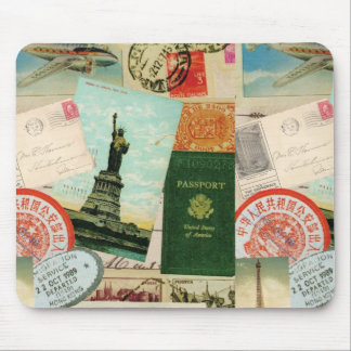 Vintage travel stamps and postcards mousepad