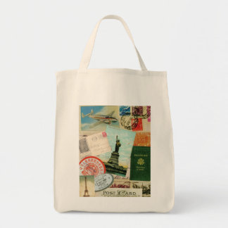 Vintage travel stamps and postcards tote bag